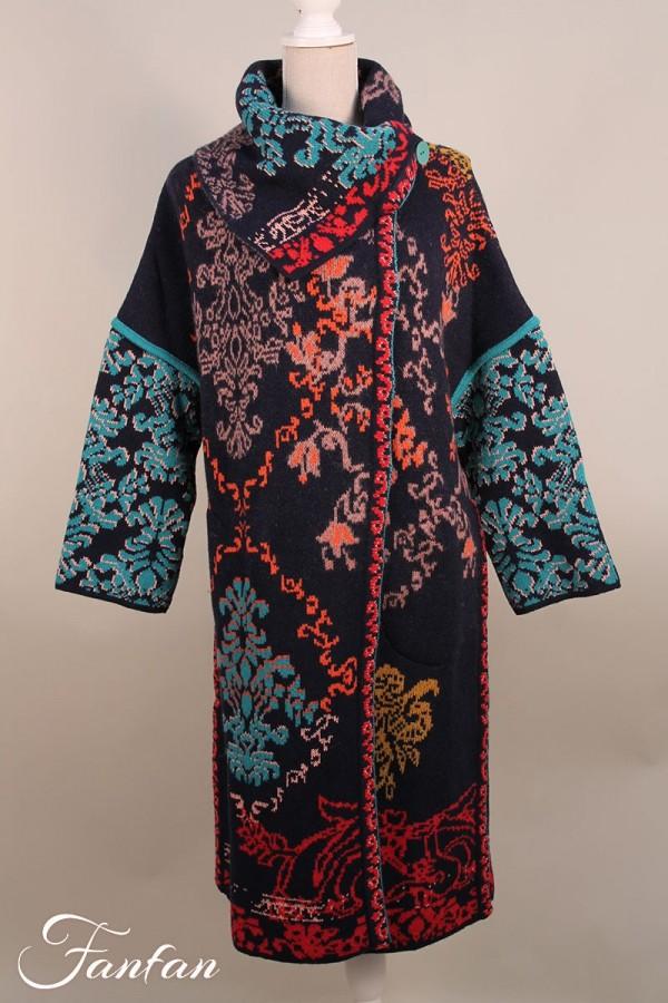 Ivko Manteau motif floral 202502 Marine