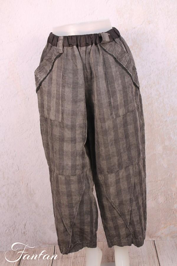 Mara Gibbucci Pantalon à carreaux en lin gris 52-86