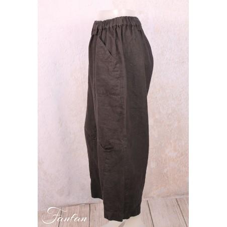 Mara Gibbucci Pantalon en lin noir 52-85