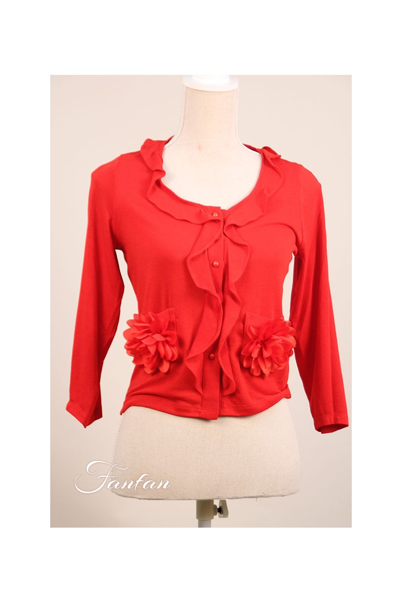 Poupée Chic Short red cardigan lace and flowers